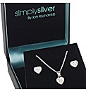 Simply Silver Crystal Heart Set