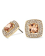 Jon Richard Peach Crystal Stud Earring
