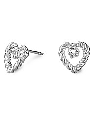 Simply Silver Twist Rope Heart Earring