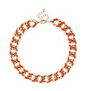 Mood Orange Enamel Chunky Chain Necklace