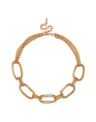 Mood Crystal And Gold Mesh Link Necklace