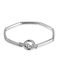 Simply Silver Polished T Bar Bracelet