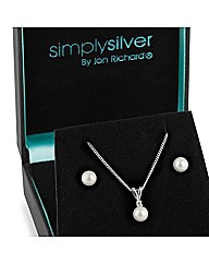Simply Silver Pearl Drop Jewellery Set