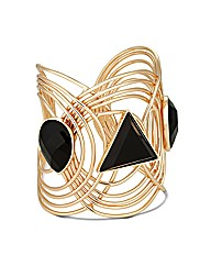 Mood Statement Jet Facet Stone Cuff