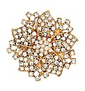 Mood Crystal Gold Flower Brooch