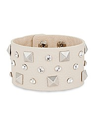Mood Crystal Stud Faux Leather Cuff