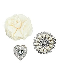 Mood Floral Crystal Heart Brooch Pack