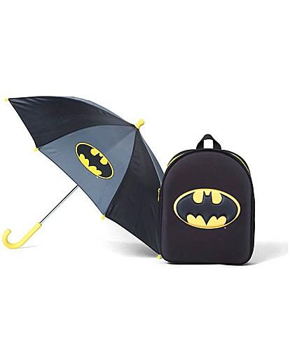 Image of Batman Logo Backpack & Umbrella Set.