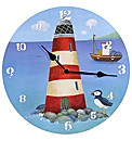 Seaside Lighthouse and Puffin Wall Clock