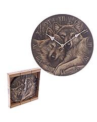 Loyal Companions Wolf Design Wall Clock