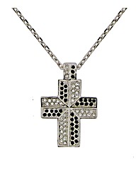 Black and White Crystal Cross Pendant