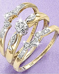 9ct YG Triple Diamond Ring Set