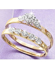 9ct YG Two Piece Diamond Ring Set
