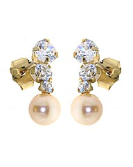 Yellow Gld 0.01Ct Cubic Zirconia Earring