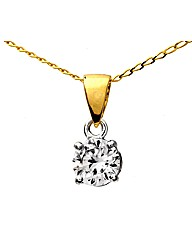 Yellow Gold 0.75 Carat Diamond Pendant