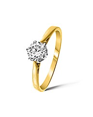 9ct Yellow Gold 0.5 Carat Diamond Ring