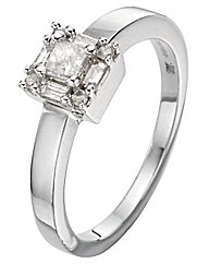 9ct White Gold Princess Cut 0.25Ct Ring