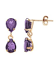 Yellow Gold 4 Carat Amethyst Earrings