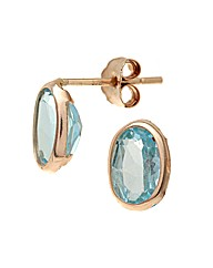 Yellow Gold 1.2 Carat Blue Topaz Earring