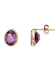 Yellow Gold 1.7 Carat Amethyst Earrings
