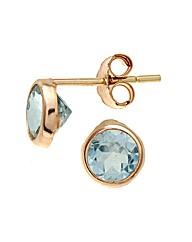 Yellow Gold 1.1 Carat Blue Topaz Earring