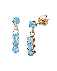 9ct Gold 0.8Ct Blue Topaz Earrings