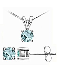 9ct White Gold 0.82Ct Aquamar. Ear/Pen