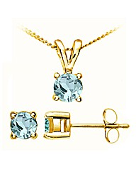 Yellow Gold 0.32Ct Aquamarine Earrings