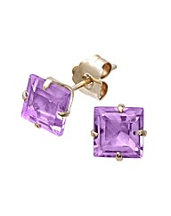 Yellow Gold 1.26 Carat Amethyst Earrings