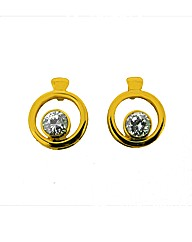 Gold Plated Crystal Loop Studs