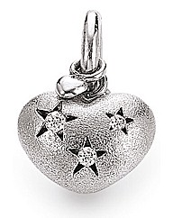 Silver Cut Out Flowers Heart Charm