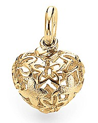 Blossom Gold Plated Silver Heart Charm