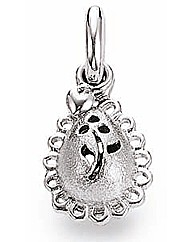 Silver Flower Patterned Drop Charm