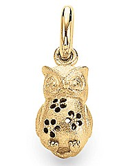 Gold Plated Matt Silver Owl Charm