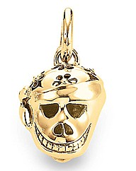 Gold Plated Sterling Silver Skull charm