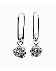 Sterling Silver Rose Drop Earrings