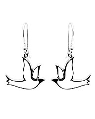Sterling Silver Dove Drop Earrings
