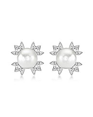 9ct White Gold Diamond and Pearl Studs