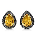 9ct Gold Black Diamond and Citrine Stud