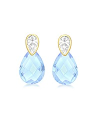 9ct Gold Blue and White CZ Earrings