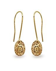 Gold Plated Silver Flower Drop Earrings