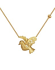 "Gold Plated Silver Bird 16.5"" Necklace"