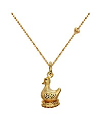 Gold Plated Silver Goose Pendant