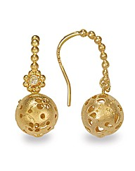 Gold Plated Silver Ball Drop Earrings
