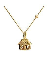 Gold Plated Silver House Pendant