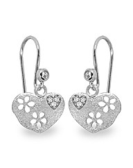 Rhodium Plated Heart Drop Earrings