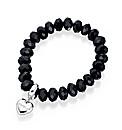 Bead charm elasticated bracelet black