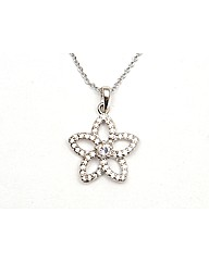 Rhodium Crystal Flower Pendant