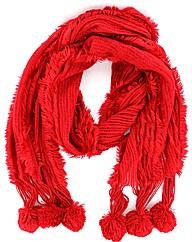 Knitted Pom Pom Scarf