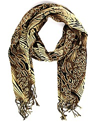 Tassled Animal Print Style Scarf